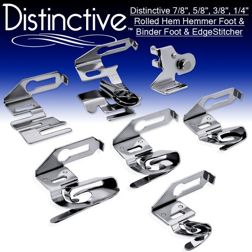 """Distinctive 7-8"""", 5-8"""", 3-8"""", 1-4"""" Wide Rolled Hem Hemmer Foot & Binder Foot & Edgestitcher Sewing Foot Package - Fits All Low Shank Singer, Brother, Babylock, Euro-Pro, Janome, Kenmore, White, Juki, Simplicity And More!"""