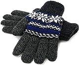 (マルカワジーンズパワージーンズバリュー) Marukawa JEANS POWER JEANS VALUE 手袋 メンズ グローブ スマホ対応 スマートフォン対応 ニット 雪柄 ノルディック柄 二重構造 4color Free ブルー
