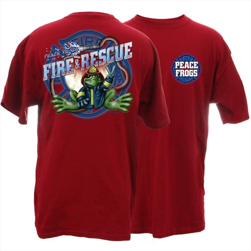 Peace Frogs Adult Firefighter Short Sleeve T-Shirt front-1047847