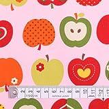 おしゃれリンゴのひみつ(ピンク) オックス生地 ハンドメイド 手作り用生地 0.5m単位でご注文いただけます。 T0052100