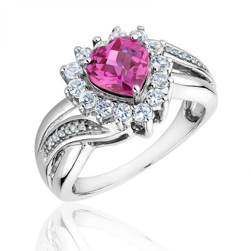 Sterling Silver Created Pink Sapphire, Created White Sapphire, and Diamond Heart Ring - Size 7.5