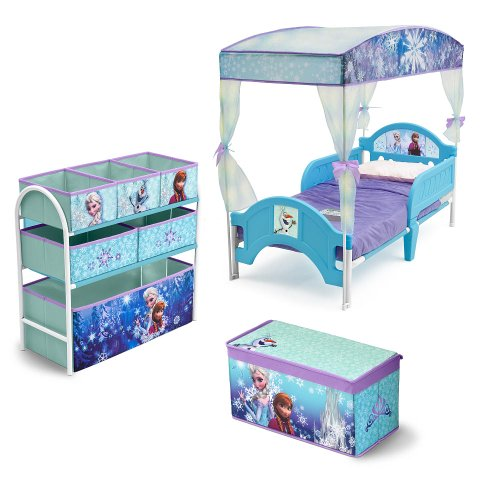 Disney Frozen Room In A Box : Toddler Canopy Bed, Toy Box, Multi Bin Organizer Princess Anna Children Bed Toy Playset