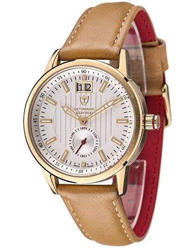 Detomaso CERVINIA SWISS MADE Gold/Braun Ladies DT3023-B - Reloj para mujeres, correa de cuero color marrón