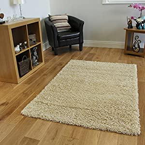 Ontario Luxury Long Pile Cheap Non Shed Cream Shaggy Rugs - Available in 12 Sizes from The Rug House