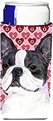 Carolines Treasures SS4516MUK Boston Terrier Hearts Love Valentines Day Michelob Ultra Koozies, Slim, Multicolor