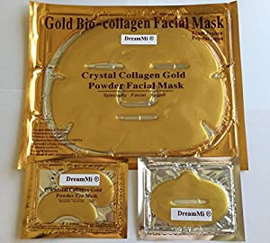 DreamMi®? ( 10 + 10 + 10 ) 10 Pieces 24K Gold Bio-Collagen Face Facial Mask + 10 Pieces Gold Lip Mask + 10 Pairs Gold Eye Pad, Anti Wrinkles/Aging, High Moisture, By DreamMi®