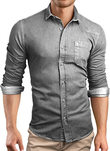 Grin&Bear custom Denim fitted Shirt Mens shirt Jeans, grey, L, SH591 (Bear Jeans compare prices)