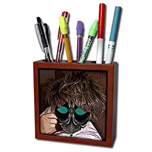 ph_50541_1 Jos Fauxtographee Abstract - A Person in a Short Brown, Messy Wig Wearing a Pink Shirt with an Object to Make up Face Like a Mask - Tile Pen Holders-5 inch tile pen holder