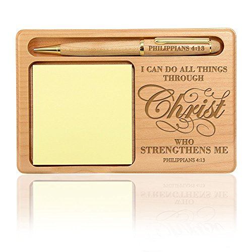 Kate Posh - Philippians 4:13 - I can do all things through Christ who strengthens me Wooden Notepad & Pen Holder