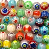Beading Station 65-Piece Mix Millefiori Flower Lampwork Glass Round Beads, 6mm