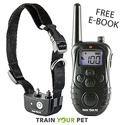 Dog Training Shock Collar by Train Your Pet E Collar with Electric Remote - Rechargeable and Waterproof Anti Bark E-Collar for Small to Large Breed Obedience - Ends Dogs Barking Safe Beep Vibration
