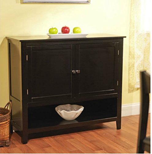 Andover Buffet Server in Amazing Black Finish - This Accent Table Furniture Is a Storage Addition and Decor to Your Home - This Sideboard Has Cabinets w/ Adjustable Shelf - Satisfaction Guaranteed! (Kitchen Servers And Buffets compare prices)