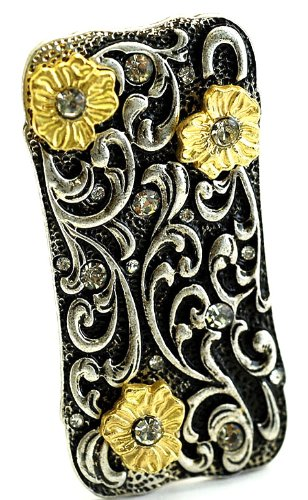 Unique XX-Large Double Finger Daisy and Filigree Ornate Fashion Ring with Crystal Accents Antique Silver Tone