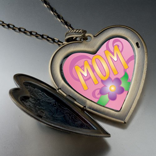Mom Flower Large Photo Locket Pendant Necklace