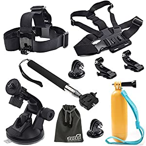 EEEKit 8-in-1 Accessories Kit for Gopro Hero4 Black/Silver Hero HD 3+/3/2/1 Camera, Head Belt Strap Mount+ Chest Belt Strap Mount+ Extendable Handle Monopod + Car Suction Cup Mount Holder + Floating Handle Grip + 2 PCS Tripod Mount Adapter+2 PCS Gopro Surface J-Hook+EEEKit Pouch