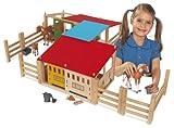 Eichhorn-100002517-Pferdestall-Kinderspiel-29-teilig-2-Gebuse-mit-Durchgang-variabel-aufbaubar-70x60cm-inklusive-Zune