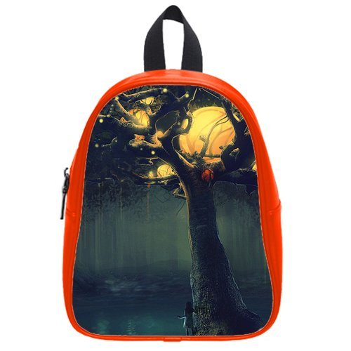 Generic Custom Round Moons Tree Woman In Night Halloween Theme Printed Red School Bag Backpack Fit Short Trip Pu Leather Large front-62506