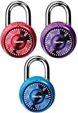 Master Lock 1533TRI Mini Combination Locks in Blue, Purple, and Pink, 3-Pack