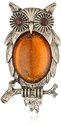 "Napier ""Giftable"" Gold-Tone Owl Boxed Pin"