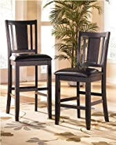 Hot Sale Set of Two Contemporary Black Upholstered Barstool