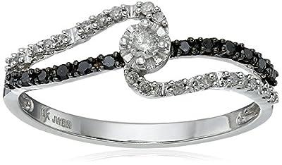 10k White Gold Black and White Diamond Promise Ring (1/4 cttw, I-J Color, I3 Clarity)