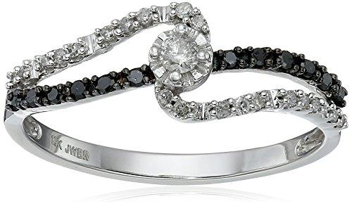 Carbonado ♦♦♦ 10k White Gold Black and White Diamond Promise Ring 1 4 cttw