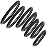 Fotodiox 7 Step Up Ring Filter Adapter Set, Anodized Aluminum, 49-52mm, 52-55mm, 55-58mm, 58-62mm, 62-67mm, 67-72mm, 72-77mm