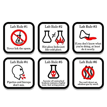 Funny Science Coaster Set - Lab Rules - 6 Piece Set - Neoprene - Neurons Not Included