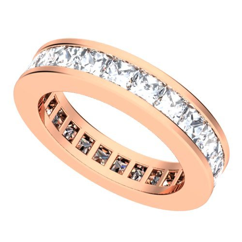 18k Rose Gold Channel set Diamond Eternity Wedding Band Ring (GH/VS, 4 ct.)