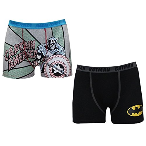 (Pack of 2) Mens BATMAN & CAPTAIN AMERICA Comfortable Fit Boxer Shorts S Multicolor