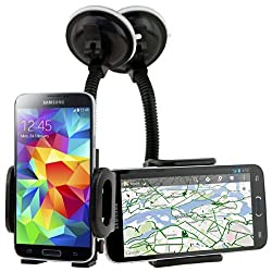 CellJoy Samsung Galaxy S5 / S V [VacuuMount] Adjustable Car Windshield Dash Mount Padded Cradle Holder Kit