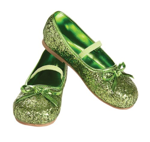 Child's Green Glitter Costume Flats