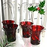 Antique Christmas Hanging Votive Candle Holders - Set of 4 Red