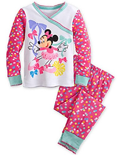 Disney Store Minnie Mouse Clubhouse Polka Dots PJ Pals Pajama Sleep Set for Girls, Size 4