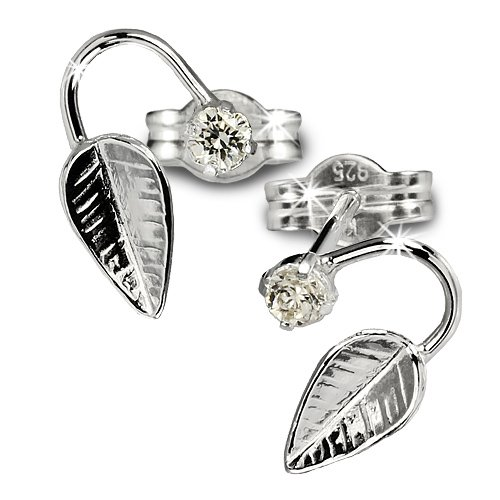 SilberDream earring curved leaf with cristall white Zirkonia 925 Sterling Silver SDO531W