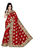 MAKEWAY Embriodery Work Faux Georgette Red Saree