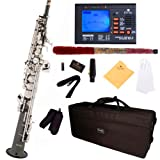 Mendini by Cecilio MSS-BNN+92D Black Nickel Plated and Nickel Plated Keys Straight B Flat Soprano Sax with Tuner, Case, Mouthpiece, 10 Reed and More