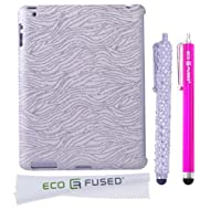 BLING IPad 3 (Silver) Sparkling Zebra Design / One (Silver) Stylus / One (Hot Pink) Stylus - ECO-FUSED Microfiber...