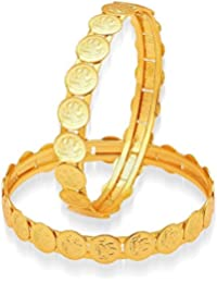 The Jewelbox Classic 22K Gold Plated Lakshmi Coin Bangle Pair