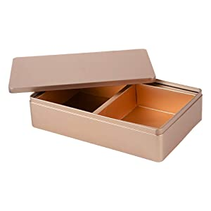 Tianhui Classic Box Rectangular Gold Empty Tin Box Containers, Gift, Jewelry and Storage Tin Kit, Home Organizer (Gold, L) (Color: Gold, Tamaño: L)