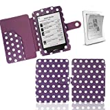 Xtra-Funky Exclusive Polka Dot PU Leather Book Wallet Style Case for Kobo Touch eReader Includes LCD Screen Protector Film - POLKA PURPLE