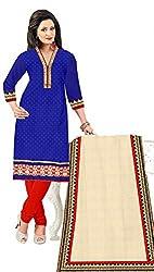 KNC Women Banarasi Jacard Unstitched Dress Material Three Piece Salwar Kamiz_Blue