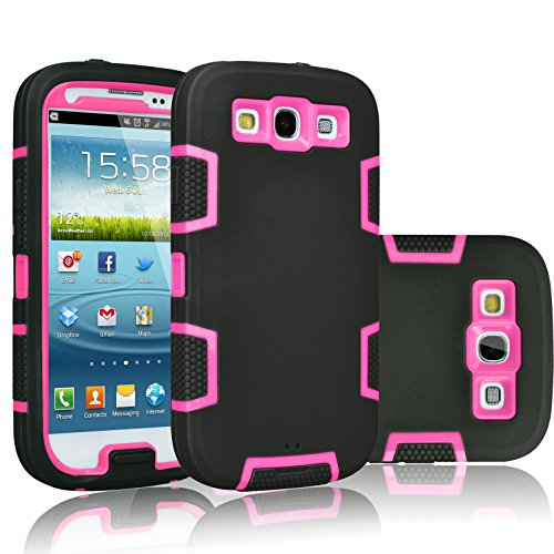 Galaxy S3 Case, Tekcoo(TM) [Troyal Series] [Black/Pink] Hybrid Shock Absorbing Shock Dust Dirt Proof Defender Rugged Full Body Hard Case Cover Shell For Samsung Galaxy S3 S III I9300 GS3 All Carriers (Galaxy S Iii Cover compare prices)