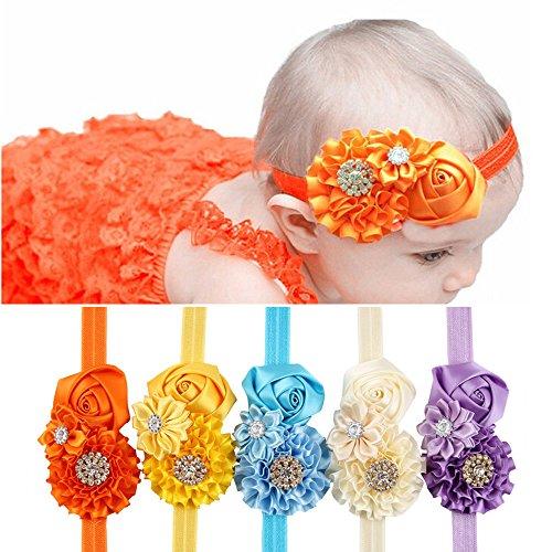 ROEWELL Baby's Headbands /Girl's HeadBands/ Hair Bow Crystal Flower (5 Pack) (set1)