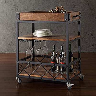 TRIBECCA HOME Myra Rustic Mobile Kitchen Bar Serving Cart