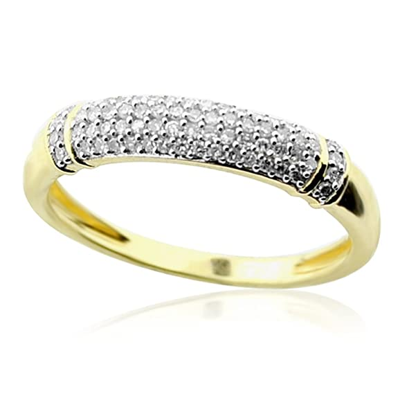 Rings-MidwestJewellery.com Women's 1/6Cttw Diamond Anniversary Wedding Band 10K Yellow Gold Domed 4Mm Wide
