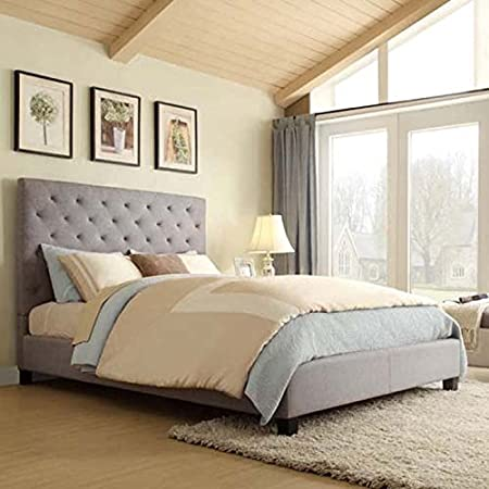 Home Creek Sascha Linen-Tufted Full Platform Bed