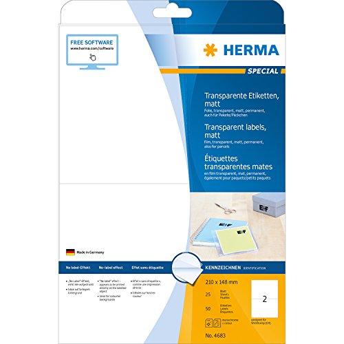 Herma 4683 Étiquettes en plastique A4 210 x 148 mm 50 pièces Transparent