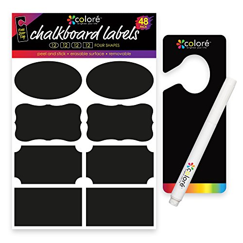 Colore Chalkboard Labels - For Bakery and Cookie Boxes, Biscotti Jar, Bedroom Storage Container, Kitchen Cabinet - FREE Chalk Pen & Door Hanger - Kids Clothing, Shoe, Garage & Desk Organizer - 48 Pack (Hello Kitty Bakery Set compare prices)