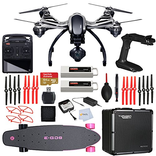 YUNEEC Q500 4K Typhoon Quadcopter with CGO3-GB Camera, SteadyGrip, Aluminum Case includes SanDisk 64GB Extreme microSD + High Speed Card Reader + Yuneec E-G02 Electric Longboard - Hot Pink & More!